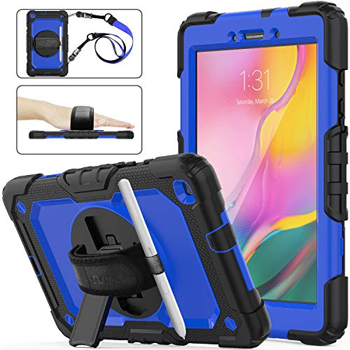 SEYMAC Stock Galaxy Tab A 8.0 SM-T290/T295/T297 Case, Shockproof Full-Body Drop Armor Case with 360 Rotating Stand Pen Holder Screen Protect Hand Strap for Samsung Tab A 8.0 (Blue+Black)