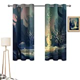 Xldavier Haro Dining Room 42'x54' Fantasy Art House Decor,Mysterious Tree Roots in Dark Scary Enchanted Forest by The Lake Print,Multi Vintage Style Curtains