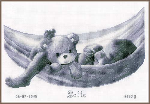 Vervaco - Kit para Cuadro de Punto de Cruz, diseño de bebé con Osito en una Hamaca, Multicolor