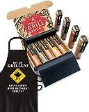 HAFTSTEIG BBQ Grill Gewürze & Grillschürze für Männer I 5 erlesene Grillgewürze inkl. Rezepte, perfektes Grill Geschenk für Männer, Grill Geschenke für Männer