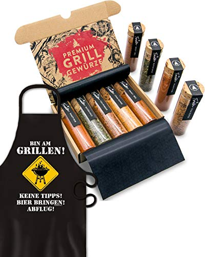 BBQ Grill Gewürze & Grillschürze für Männer I 5 erlesene Grillgewürze inkl. Rezepte, perfektes Grill Geschenk für Männer, Grill Geschenke für Männer