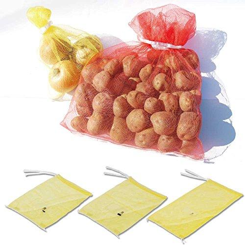 『ヘイコー 野菜ネット PEメリヤスネット3kg 黄色 ラベル付 25枚入 004711768』の3枚目の画像