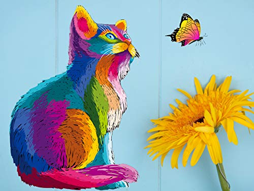 Tookeen Paint by Numbers Kit for Kids - Number Painting DIY Craft Kits - 16x12 Inch Acrylic Oil Painting On Canvas with Framed - Painting Set for Boy, Girl, Beginner Adult, Colorful Cat & Sunflower