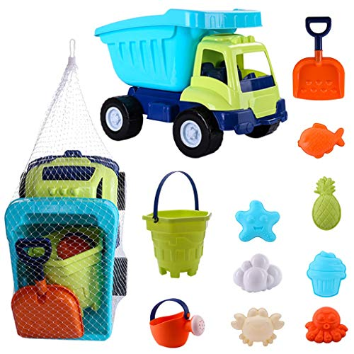 11pcs Beach Truck Sand Playset for Kids,Summer Seaside Sand Water Toys,Children Sand Digging Play Set,with Mesh Bag,Beach Bucket,Watering can,Plastic Shovels Beach Molds,Boys Girls Gift (Multicolor)