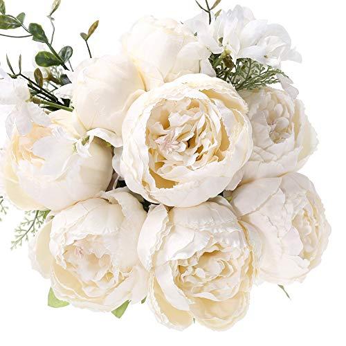 Uworld Artificial Flowers Silk Plastic Fake Peony Flower Vintage Peonies Bouquet DIY Wreath for Home Wedding Centerpieces D