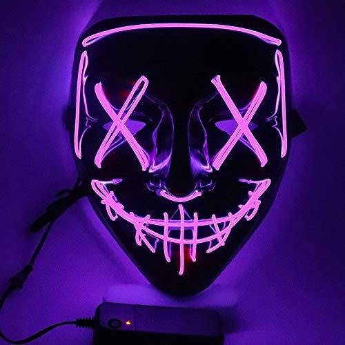 SOUTHSKY LED Mascara Mascarilla Negra Disfraz de Luces Neon