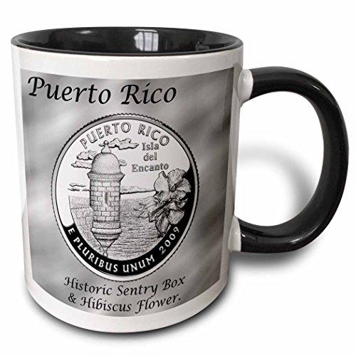 3dRose Territories Quarter Puerto Rico Two Tone Mug, 11 oz, Black/White