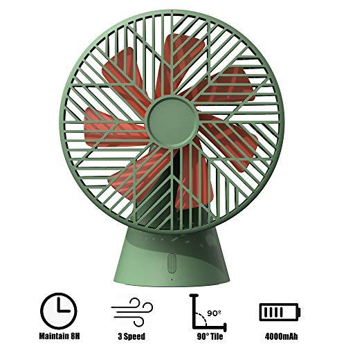 Kecheer USB-ventilator, draagbare 7 inch (61 cm) desktop-luchtcirculatiebatterijventilator met 3 koelsnelheden, 90 ° draai de USB-mini-handventilator met 7 bladen, voor kinderwagens, kantoren, camping groen