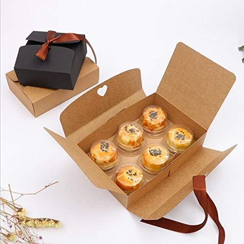 Xinger 10st doos vijf maten zwart en kraft dozen met lint bruiloft gunst douche partij geschenkdozen, bruin, 21x14x5cm