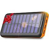 KEDRON Batterie Externe, 24000 mAh Chargeur Solaire Power Bank avec Deux Entrées et 3 Ports Haute Vitesse de Charge Portable pour Smartphones