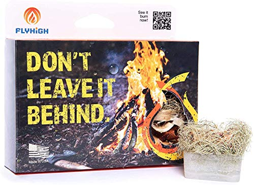Fly High Waterproof Fire Cubes for Camping & All Outdoor Adventures. Extreme Conditions, Burns Wet Kindling, Wood Burning STOVES, FIREPLACES, Hiking, & Picnics (6 Cubes) Handcrafted in USA