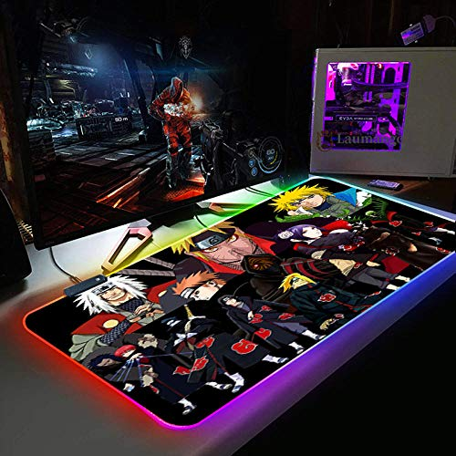 Mouse Pads Anime Naruto Characters RGB Gaming Mouse Pad Mat - Soft Non-Slip Rubber Base Led Light up Mousepad, Computer Keyboard Mice Mat for PC, Laptop, Desk 11.81'x35.43'