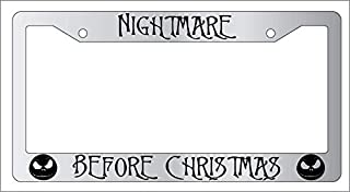 Dad of LP Frame Fun Personalized Black Frame License Plate - Nightmare Before Christmas UV & Water Resistant for All Standard US Standard Screw Caps