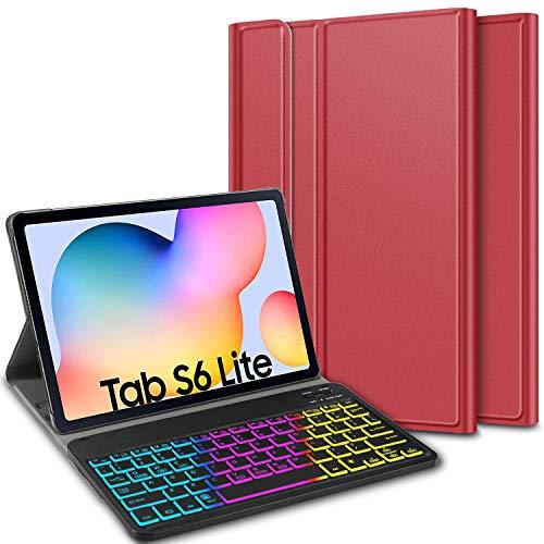 ELTD Teclado Estuche con Portalápices para Samsung Galaxy Tab S6 Lite 10.4,[QWERTY Ingles,Sin ñ],7 retroiluminación LED de Colores con 3 Niveles Control, Funda con Wireless Teclado,(BG-Rojo)
