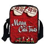 LoveLeiter Damen Weihnachten 3D Gedruckt Handtasche Satchel Crossbody Tasche Umhängetaschen Shopper Messenger Tasche Schultertasche Frauen Kinder Hüfttasche Kuriertaschen