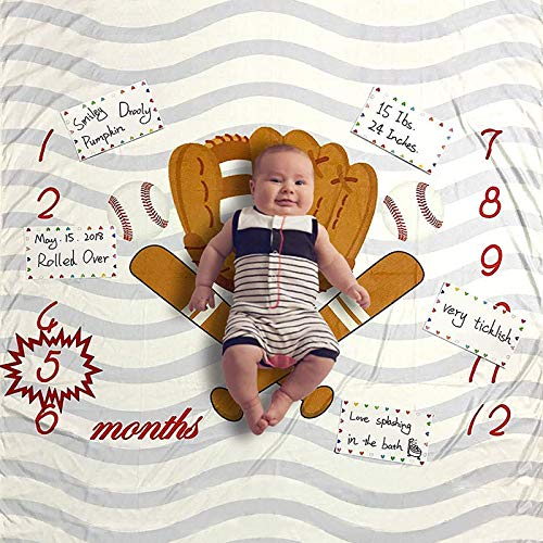Product Image of the Baby Monthly Milestone Blanket Baseball, Photo Prop for Newborn Growth...