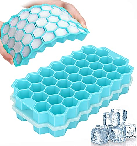TeaRoo 2 Pack Silicone Ice Cube Trays with Lids, Easy-Release and Flexible, BPA Free for Whiskey Cocktail, Stackable and Safe...