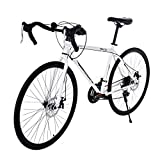 Road Bikes for Men Aluminum, Full Suspension 21 Speed Disc Brake Road Bike, 700C Double Disc Brake...