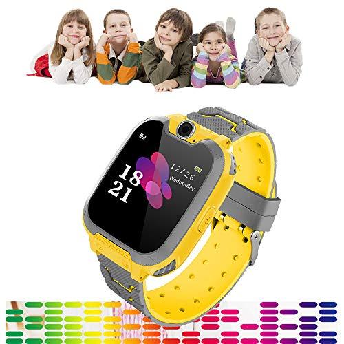 Full Screen Kinderen Smart Phone Horloge Gaming, Touch Kleur Scherm Jongens Meisjes Smartwatch 300.000 Pixels HD Camera 84 graden groothoek Lens, Muziek spelen, Gaming, Opnemen, Geen behoefte App, Geel