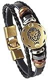 Hamoery Punk Alloy Leather Bracelet For Men Constellation Braided Rope Bracelet Bangle Wristband(Leo)