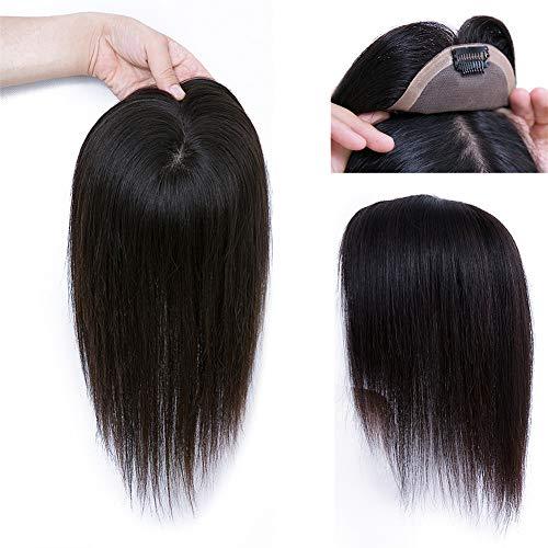 Extension de frange en cheveux humains lisses sans couture 9 x 9 cm, 18 cm Marron foncé