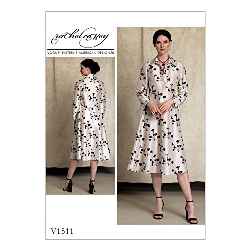 Vogue Damen Schnittmuster 1511Hälfte Knopfleiste, lange Ärmel Hemdblusenkleid