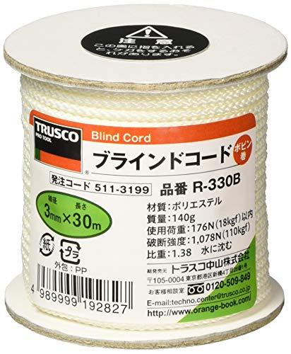 TRUSCO(トラスコ) ブラインドコード 白 3mm×30m 8つ打タイプ R-330B