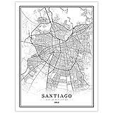 HUUDNHYK Impresión en Lienzo sin Tejer Chile Ciudad Creativa Mapa Blanco y Negro Santiago.Las mesas en Blanco y Negro Cuadro de decoración del hogar 85x60cm (34x24in) sin Marco