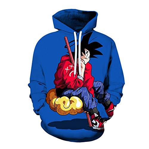Sweatshirt Mit Kapuze Unisex Dragon Ball Z Hoodie Männer Frauen 3D Druck Japanischer Anime Goku T Shirt Lässiges Sweatshirt Jugend Baseball Uniform Blue_M