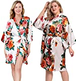 ALHAVONE Women's Rose Flowers Silky Satin Short Kimono Robe for Wedding Getting Ready (White, Tag SM)