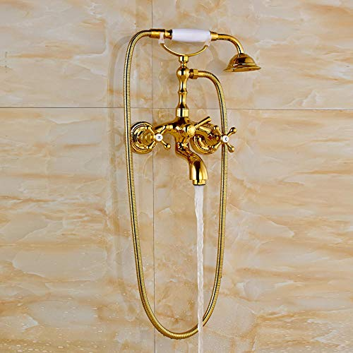 Gnailur Cuarto de baño Montado Teléfono Estilo Ducha Grifo con asas duales