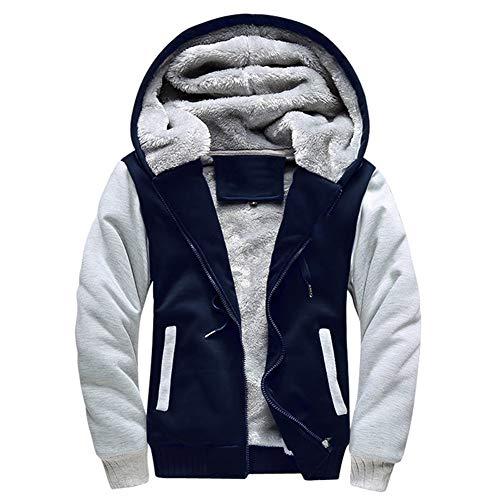 LBL Homme Hiver Chaud Sweats à Capuche Zippé Épaisse Veste de Manches Longues Manteau Bleu 2XL