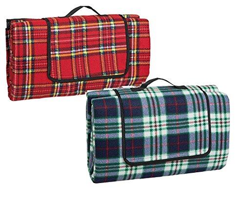 Idena Picknickdecke (170 x 200 cm, Doppelpack | rot kariert + blau kariert - Mix)