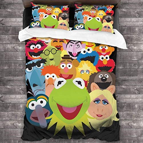 KDRW K-Ermit The Frog-Bedding-Sets, Comforter Set Full, 3 Piece Bed Sets, Ultra Soft Microfiber Unisex Bedding Set Modern Pattern Printed