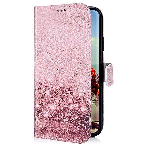 Uposao Coque pour LG G8 ThinQ Marbre Motif Coque,Pochette Portefeuille en Cuir Coque Folio Flip Fonction Stand Housse Fermeture Magnetique Etui Rabat 3D Effet Coloré Coque,Rose Gold