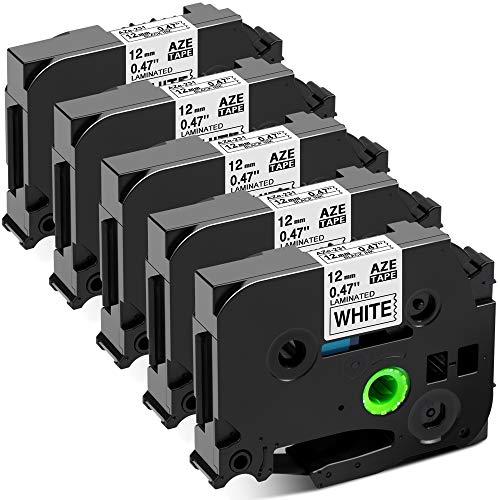 Invoker kompatible Schriftband als Ersatz für Brother TZe-231 TZe231 TZ231 Laminiert Etikettenband 0.47 12mm x 8m, für Brother P-touch 1010 H100R H100LB H105 D200BW D400VP (Schwarz auf Weiß, 5er-Pack)