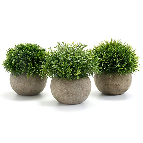 GoMaihe Artificial Plant Round Grass Set of 3 With Grey Pot, 9.5X13cm Small Indoor and Outdoor Fake Plants, Plastic Plant for House Office Desk Bedroom Bathroom Kitchen Decor, Exquisite New House Gift