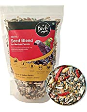 The Birds Company Exotic Seed Blend of 20 Grains & Exotic Nuts, Fortified with Spirulina & Cuttlefish Bone, Bird Food for Medium Parrots, African Grey, Conures, Eclectus, 450 g