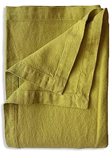 JOWOLLINA Bettüberwurf Tagesdecke Rasa aus 100prozent Leinen Stonewashed (Olive Gelb, 260x280 cm)