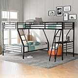 Metal Triple Bunk Beds, Twin Over Full Bunk Bed Attached Twin Loft Bed with Desk, L-Shape Triple Beds Frame with Ladders and Guardrails, Safe Design for Kids Teens Adults