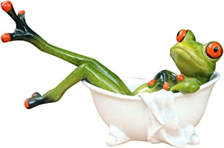 Dorlotou Frog Cute Funny Green Frog Figurines Lying in The Bathtub Frog Sculpture Statue..