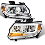 For [Exclusive] 2015-2020 Chevy Colorado Frost White LED DRL Dual Square Projector Headlights Pair