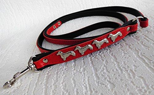 *DACKEL* HUNDELEINE - Leine Metallaplikationen, 130cm/10mm, Echt Leder ROT-Schwarz