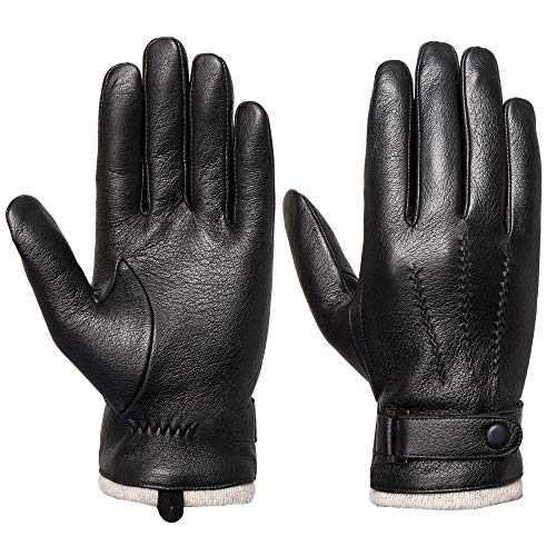 Mens Genuine Leather Gloves Winter - Acdyion Touchscreen Cashmere/Wool Lined Warm Dress Driving Gloves (Black, Medium)