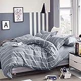 KEAYOO Bettwäsche Grau Weiß Gestreift 100% Baumwolle mit Reißverschluss 2 teilig (200 x 200 cm)