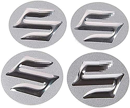 4 Piezas 56.5MM con coche Logo Tapas de Cubo de Rueda para Suzuki Swift SX4 Jimny Samurai Vitara Alto Liana, Tapacubos a prueba de polvoimpermeable, accesorios de modelado decorativos