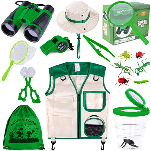 GINMIC Kids Explorer Kit & Bug Catching Kit, 11 Pcs Outdoor Exploration Kit for Kids Camping with Binoculars, Adventure, Hunting, Hiking, Educational Toy Gift for 3-12 Years Old Boys Girls