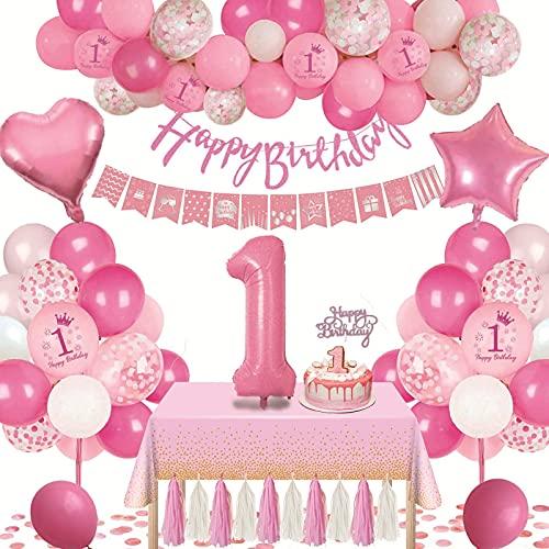 1st Geburtstagsdeko Rosa Geburtstag Luftballons Happy Birthday Banner mit Großem Ballon 1. und Rosa Weißen Konfetti Luftballons und Tischdecke für Kindergeburtstag Mädchen Tochter Babyparty Party Deko