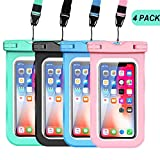 GLBSUNION Waterproof Phone Pouch, IPX8 Universal Water proof Case Underwater Dry Bag 4-Pack Compatible for iPhone 11 Pro XS MAX XR X 8 up to 6.9', Protective Pouch for Pools Beach Kayaking Travel Bath