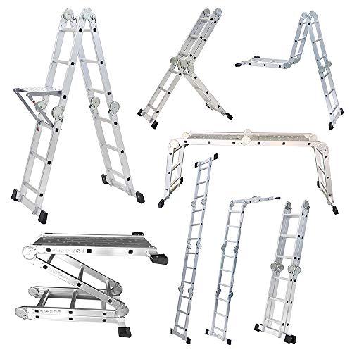 【正規品】ステップエイト 脚立 はしご 簡単8変化 ステップ8 アルミ 多機能 折りたたみ 足場 便利 多関節脚立 (シルバー(スタンダード))